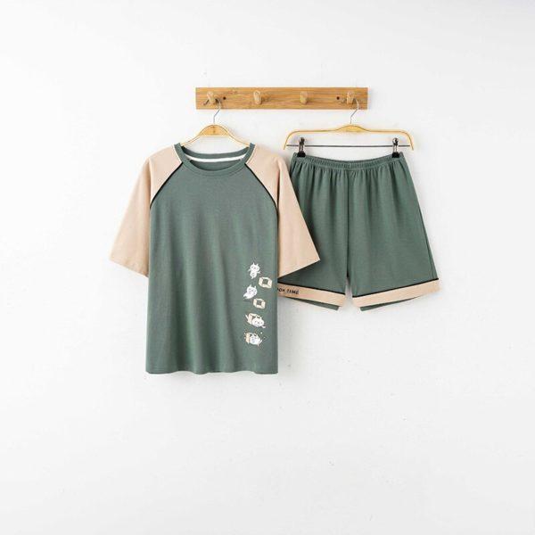 ATUENDO Summer Fashion Green Pajama Sets for Women Korean Atoff Home Satin Soft Sleepwear 100% Cotton PJS Silk Kawaii Nightwear
