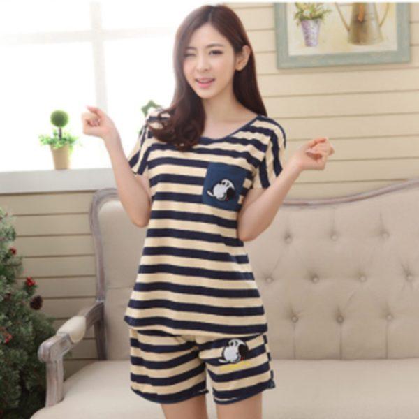 Casual Women Pajamas Sets Short Sleeve T Shirt Shorts Suits Cute Sleepwear Comfortable Summer Pyjamas 2 PCS Sets Bigsweety