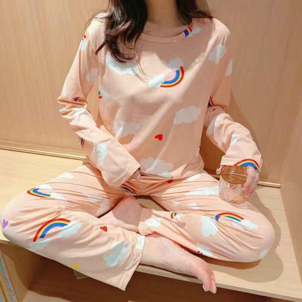 Cute Orange Fruit Print Summer Pajamas Set For Women Girls Long Sleeve Loose Casual Sleepwear T-Shirts and Shorts Pjs Homewear