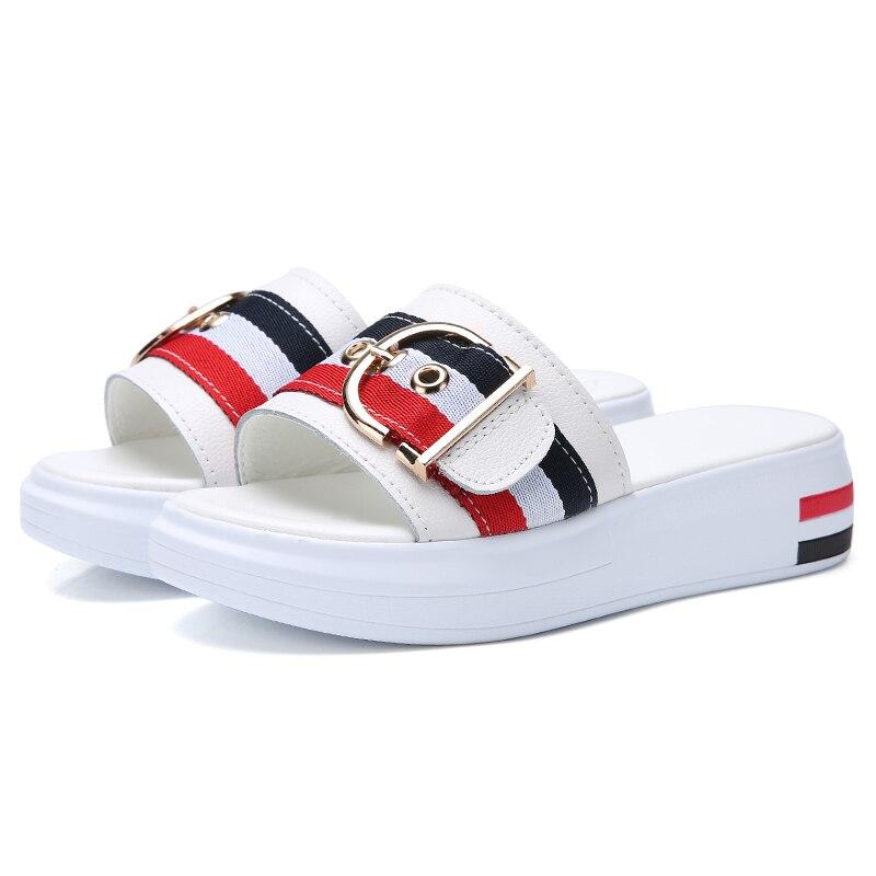 JZZDDOWN Women Slippers Flat Shoes Woman Genuine Leather Beach Sandals Ladies Luxury Belt Platform Slides Flip Flops Summer