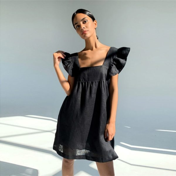 Muiches Casual Square Collar Butterfly Sleeve Mini Sweet Dress Woman Backless High Waist Loose Linen Solid Dress 2021 Summer