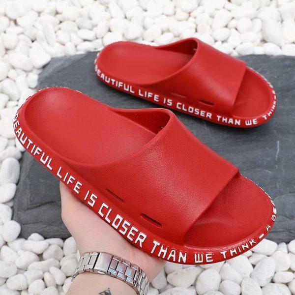 Summer Women Slippers Beach Slide Sandals Cute Words Alphabet Non-Slip Soft Sole Men Couple Laides Home Outdoor Shoes
