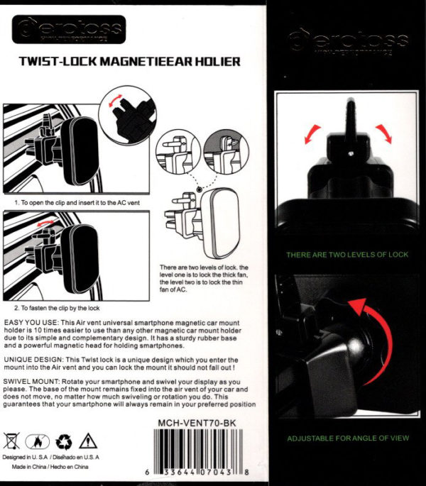 Car Phone Holder Magnetic Type MCH-VENT70-BK