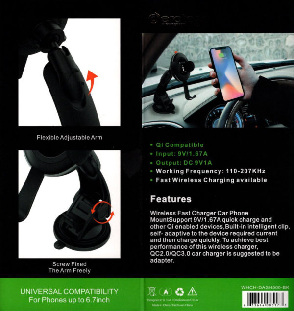 Car Phone Holder with Wireless Charger WHCH-DASH500-BK
