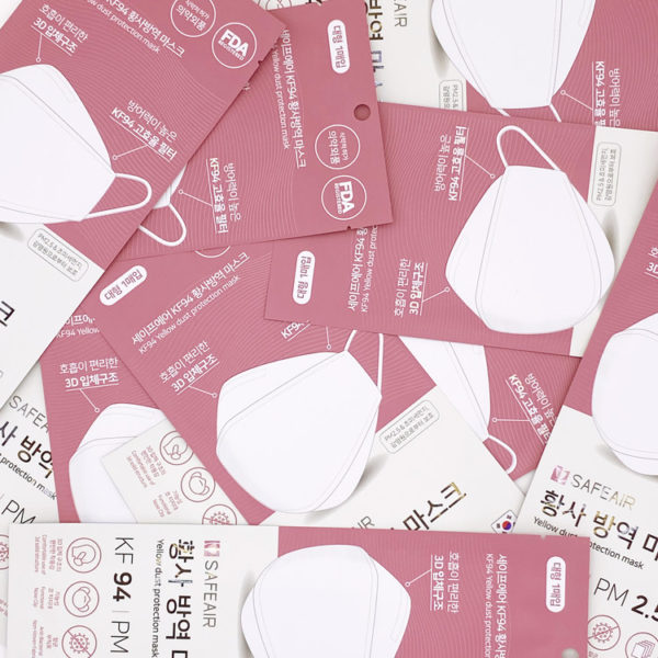 SAFEAIR Korean White KF94 Certified Comfortable Safety Korea Face Mask for Adult, individually packaged