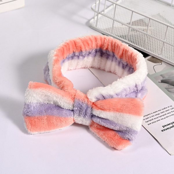 Cute Makeup Headband for Face Wash Shower Mask Eelastic Headband Soft Big Bow Hairband