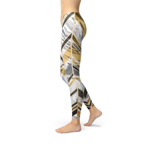 Womens White Marble w/ Black Gold Lines Leggings