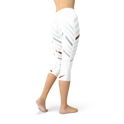 Womens White Stripes Capri Leggings
