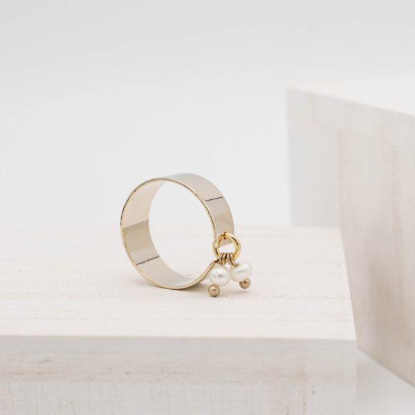 Twin Pearl Pendant Ring